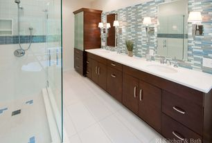 Modern Master Bathroom with Glass panel, Bathtub, full backsplash, Flush, Wall sconce, Shower, Corian counters, Casement