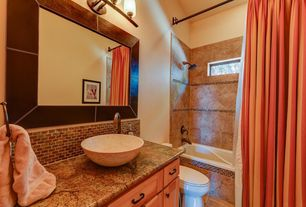 Eclectic Full Bathroom with full backsplash, shower bath combo, Subway Tile, Bathtub, picture window, Inset cabinets, Shower