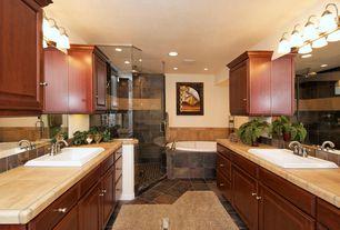 Traditional Master Bathroom with Slate Tile, Rain shower, Stone Tile, Limestone tile counters, Handheld showerhead