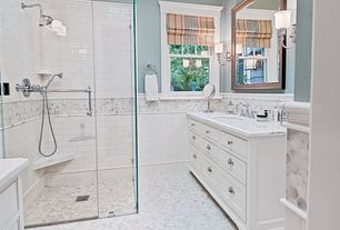 Traditional Master Bathroom with Standard height, Flat panel cabinets, Complex marble counters, frameless showerdoor, Shower