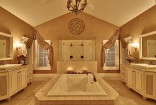 Traditional Master Bathroom with Chandelier, Paint 1, Drop-in sink, Wall sconce, Raised panel, stone tile floors, Paint 1