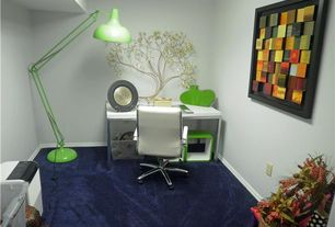 Contemporary Home Office with Carpet