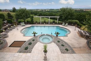 Mediterranean Swimming Pool with Trellis, Fence, exterior stone floors