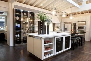 Contemporary Kitchen with flush light, Glass panel, double wall oven, High ceiling, Custom steel cabinets, Skylight, Paint 2