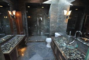 Contemporary Master Bathroom with Wall sconce, Shower, Standard height, Wall Tiles, can lights, Handheld showerhead, Flush