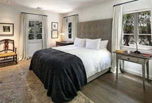 """Traditional Master Bedroom with Grid Tufted Headboard - 56"""" King, Linen Weave, Natural, Hardwood floors"""