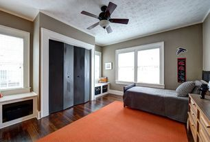 Contemporary Kids Bedroom with Ceiling fan, Built-in bookshelf, Crown molding, Window seat, Hardwood floors