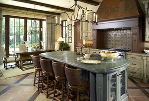 Traditional Kitchen with Kitchen island, European Cabinets, Chandelier, Breakfast bar, Custom hood, Breakfast nook, One-wall