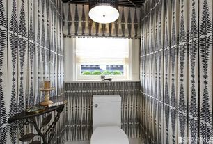 Eclectic Powder Room with flush light, TANNER DEMILUNE CONSOLE TABLE, 2643880 FERN TREE NOIR/CREME BY F SCHUMACHER