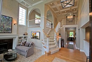Traditional Staircase with Robert abbey millbrook foyer pendant, Sunken living room, Carpet, Built-in bookshelf, Box ceiling