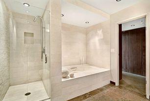 Contemporary Master Bathroom with frameless showerdoor, Pental Seastone Porcelain Tile - White, Master bathroom