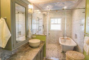 Cottage Master Bathroom with Complex Granite, Flat panel cabinets, Complex granite counters, frameless showerdoor