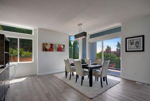 Modern Dining Room with Transom window, Hardwood floors, Standard height, picture window, Pendant light, sliding glass door