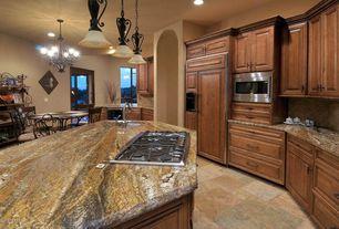 Craftsman Kitchen with Ms international porcini pattern tumbled travertine paver kits, Granite giallo alba polished, Flush