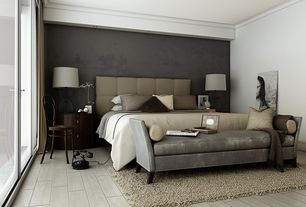 Contemporary Master Bathroom with Daltile Gray Glazed Ceramic Multi Surface Tile, West Elm Leather Grid Tufted Headboard