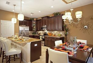 Traditional Kitchen with Breakfast nook, Complex granite counters, American Olean AMBER MM04 Random Mosaic Tile, Flush