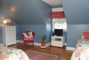 Cottage Kids Bedroom with Hardwood floors, High ceiling, no bedroom feature, double-hung window