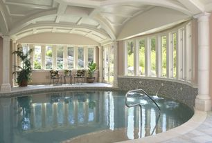 Traditional Swimming Pool with picture window, Indoor pool, French doors, exterior stone floors