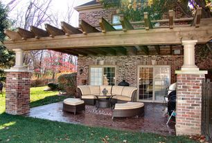 Traditional Porch with French doors, Trellis, 10x10 Traditional Wood Pergola, Fence, Screened porch, exterior tile floors