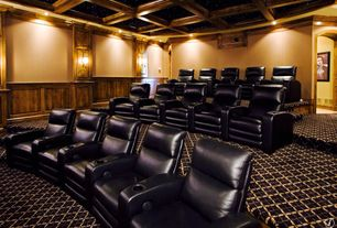 Traditional Home Theater with Carpet, Wainscotting, Wall sconce, Crown molding, Box ceiling
