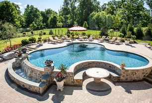 Traditional Swimming Pool with Fountain, Fence, Pathway, exterior stone floors