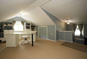 Contemporary Home Office with Crown molding, flush light, Casement, Built-in bookshelf, Carpet, Standard height
