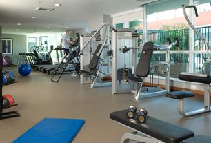 Modern Home Gym with Gofit folding 6 foot aerobic vinyl mat, Transom window, Phoenix 99255 Adjustable Slantboard, Carpet
