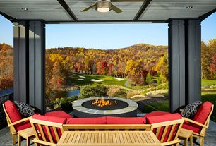 Contemporary Porch with Fire pit, Pond, exterior stone floors, Teak patio sofa set, Screened porch