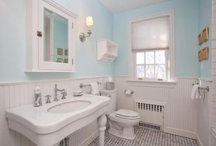 Cottage Full Bathroom with Cheviot 707-w-32-8 32 windsor console with legs, Paint, Basket weave tile, Paint 2
