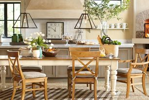 Eclectic Dining Room with picture window, Paint 1, Fireplace, Zuo Taupo Ceiling Light Distressed Black, Standard height
