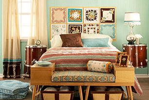 Eclectic Master Bedroom with Mid century side tables bench, interior wallpaper, Bohemian curtain panels, Hardwood floors