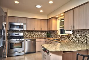 Modern Kitchen with Complex granite counters, Faber Blend Mesh-Mounted Marble Mosaic, L-shaped, Kitchen peninsula