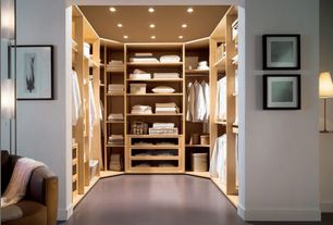 Contemporary Closet with Built-in bookshelf, Concrete floors, Ikea Komplement Shelf, White Stained Oak Effect