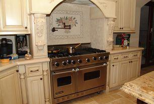 "Mediterranean Kitchen with Viking 48"" gas range - vgcc, Ms international emperador light marble, Custom hood, Raised panel"