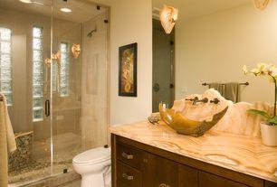 Asian 3/4 Bathroom with Custom Frameless Shower, frameless showerdoor, Santangelo SC-RSTC 2 Light Rustica Wall Sconce, Onyx
