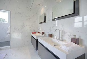 "Contemporary Master Bathroom with Virtu USA Zuri 39"" Single Bathroom Vanity Cabinet in Wenge, complex marble floors, Flush"