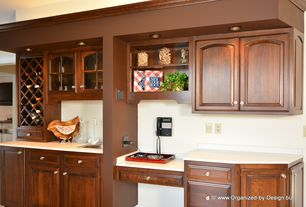 Traditional Kitchen with Glass panel, Raised panel, Undermount sink, Inset cabinets, can lights, One-wall, partial backsplash