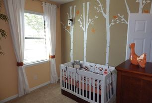 Contemporary Kids Bedroom with 5 Large Birch Tree Forest Vinyl Wall Decal, Carpet, Built-in bookshelf