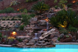 Rustic Swimming Pool with Fountain, Pathway, exterior stone floors