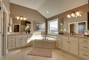 Craftsman Master Bathroom with stone tile floors, drop in bathtub, Paint, Standard height, Inset cabinets, Bathtub, Paint 2
