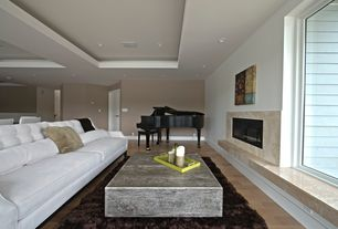 Contemporary Living Room with specialty door, Standard height, picture window, Laminate floors, Fireplace, can lights