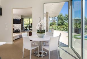 Contemporary Dining Room with Carpet