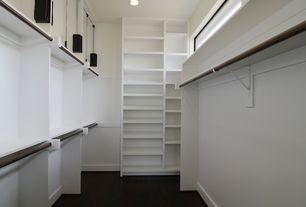 Contemporary Closet with Concrete floors, Standard height, Built-in bookshelf, California closets: custom walk-in closet