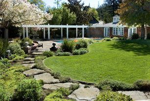 Traditional Landscape/Yard with French doors, Pathway, exterior stone floors, Trellis, Raised beds, Casement