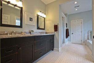 Traditional Master Bathroom with European Cabinets, Master bathroom, six panel door, drop in bathtub, can lights, Flush