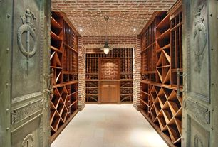 Traditional Wine Cellar with Crown molding, French doors, interior brick, Pendant light, can lights, Standard height
