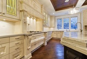 Traditional Kitchen with Casement, can lights, Kitchen island, Flat panel cabinets, Flush, High ceiling, Pendant light