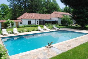 Mediterranean Swimming Pool with French doors, exterior stone floors, Fence, Lap pool, Pathway