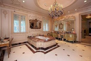 Traditional Master Bathroom with Chandelier, can lights, Master bathroom, Bathtub, Casement, Standard height, Crown molding