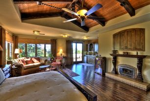 Mediterranean Master Bedroom with Monte Carlo Strasburg Tuscan Bronze Ceiling Fan, High ceiling, flush light, French doors